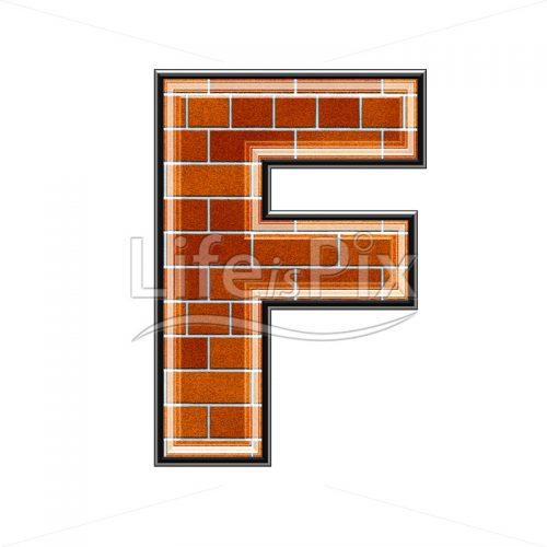Brick letter isolated on white background – F – Royalty free stock photos, illustrations and 3d letters fonts