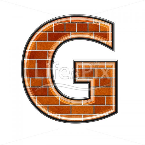 Brick letter isolated on white background – G – Royalty free stock photos, illustrations and 3d letters fonts