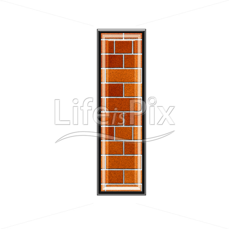Brick letter isolated on white background – I – Royalty free stock photos, illustrations and 3d letters fonts
