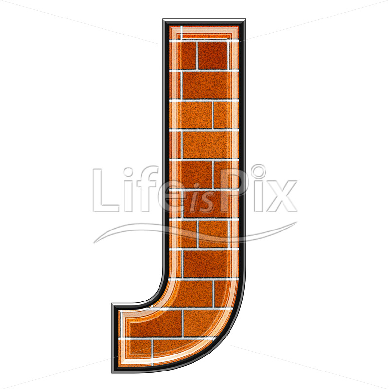 Brick letter isolated on white background – J – Royalty free stock photos, illustrations and 3d letters fonts