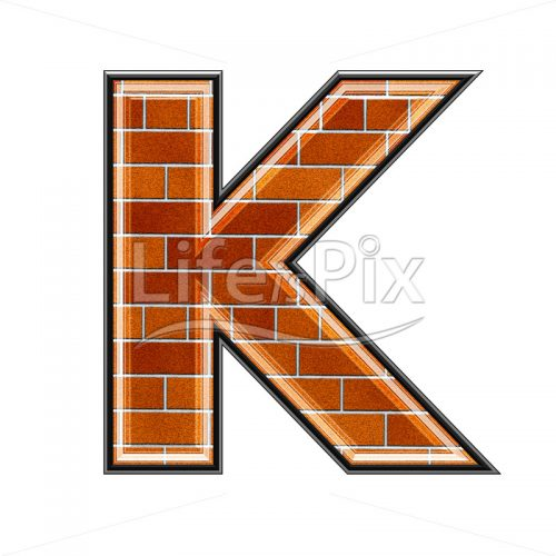 Brick letter isolated on white background – K – Royalty free stock photos, illustrations and 3d letters fonts
