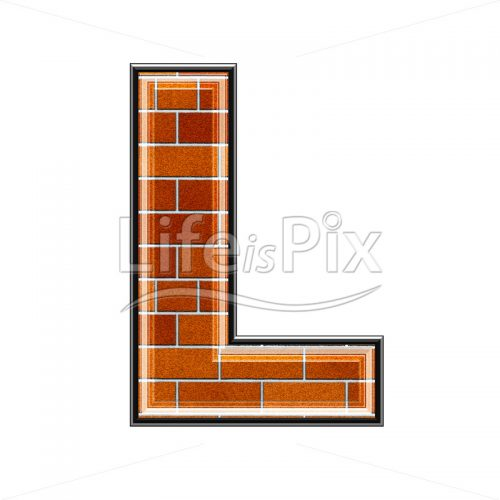 Brick letter isolated on white background – L – Royalty free stock photos, illustrations and 3d letters fonts
