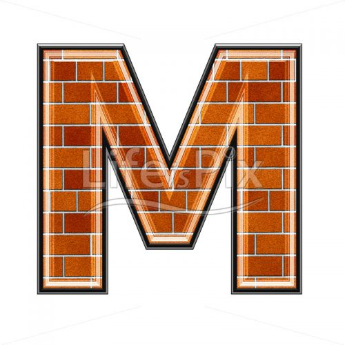 Brick letter isolated on white background – M – Royalty free stock photos, illustrations and 3d letters fonts