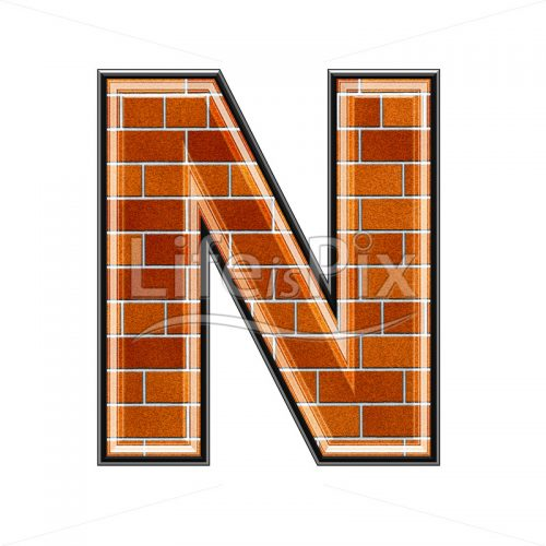 Brick letter isolated on white background – N – Royalty free stock photos, illustrations and 3d letters fonts