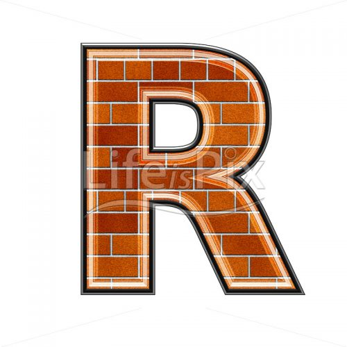 Brick letter isolated on white background – R – Royalty free stock photos, illustrations and 3d letters fonts