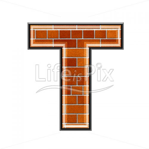 Brick letter isolated on white background – T – Royalty free stock photos, illustrations and 3d letters fonts