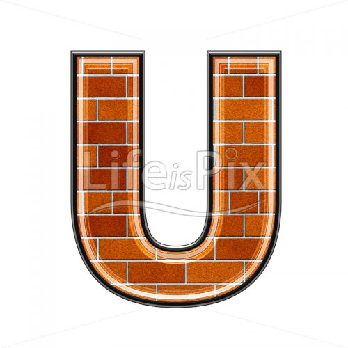 Brick letter isolated on white background – U – Royalty free stock photos, illustrations and 3d letters fonts