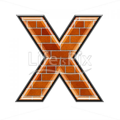 Brick letter isolated on white background – X – Royalty free stock photos, illustrations and 3d letters fonts