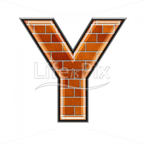 Brick letter isolated on white background – Y – Royalty free stock photos, illustrations and 3d letters fonts