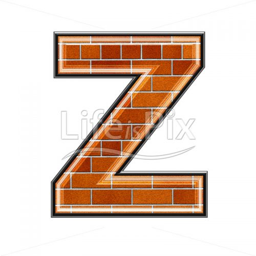 Brick letter isolated on white background – Z – Royalty free stock photos, illustrations and 3d letters fonts