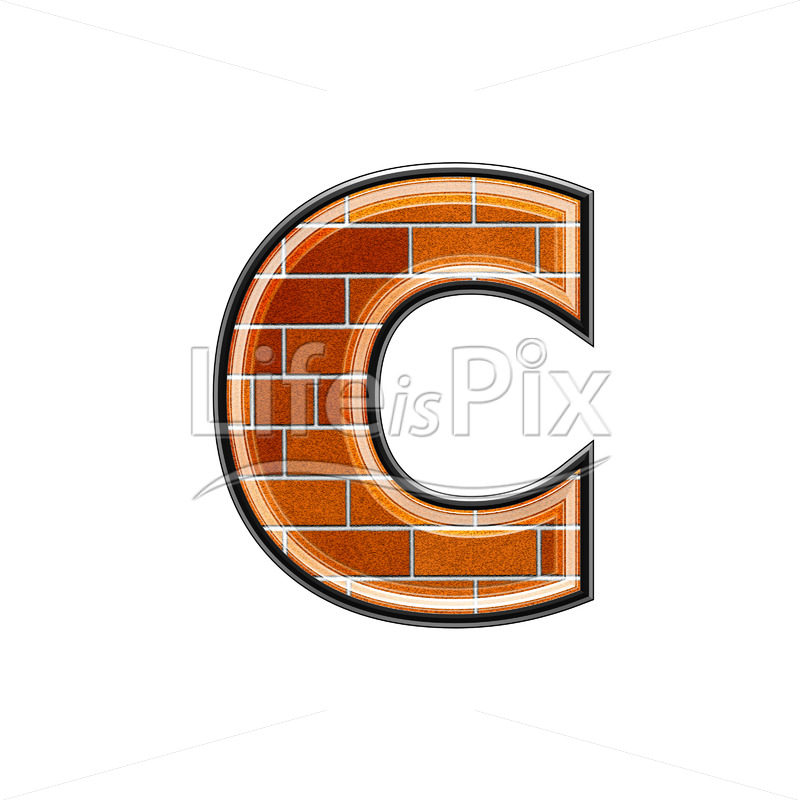 Brick letter isolated on white background – small C – Royalty free stock photos, illustrations and 3d letters fonts