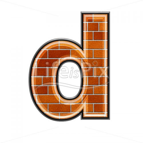 Brick letter isolated on white background – small D – Royalty free stock photos, illustrations and 3d letters fonts