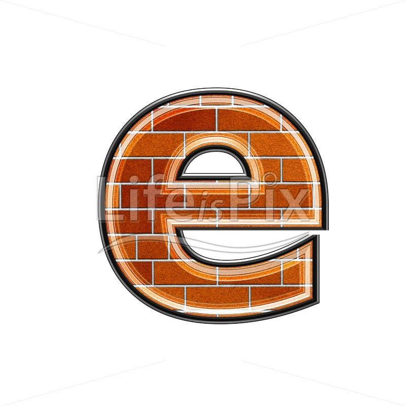 Brick letter isolated on white background – small E – Royalty free stock photos, illustrations and 3d letters fonts