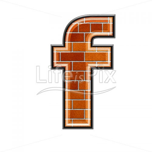 Brick letter isolated on white background – small F – Royalty free stock photos, illustrations and 3d letters fonts