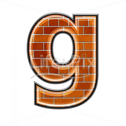 Brick letter isolated on white background – small G – Royalty free stock photos, illustrations and 3d letters fonts