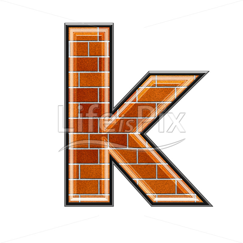 Brick letter isolated on white background – small K – Royalty free stock photos, illustrations and 3d letters fonts