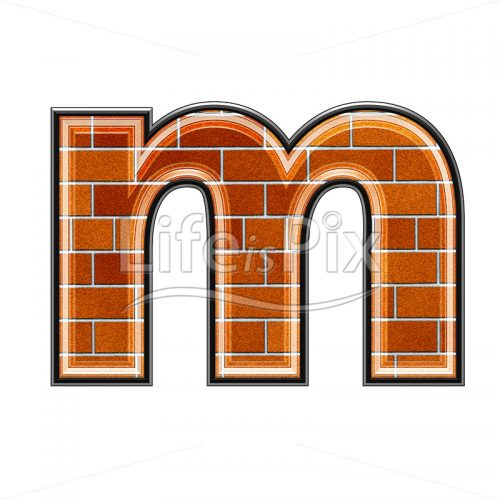 Brick letter isolated on white background – small M – Royalty free stock photos, illustrations and 3d letters fonts