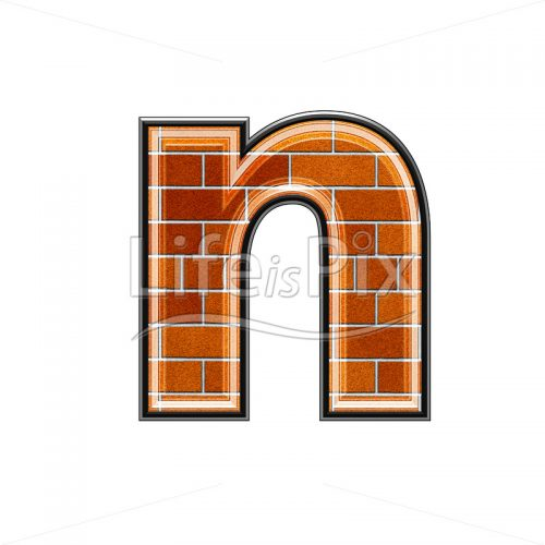 Brick letter isolated on white background – small N – Royalty free stock photos, illustrations and 3d letters fonts