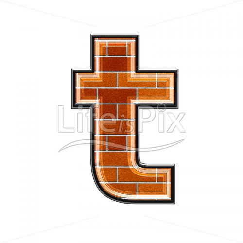 Brick letter isolated on white background – small T – Royalty free stock photos, illustrations and 3d letters fonts