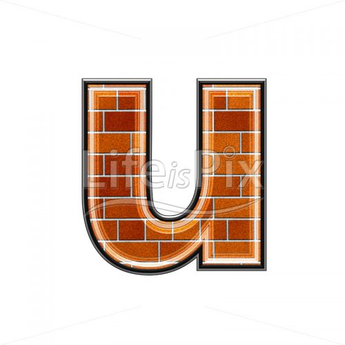 Brick letter isolated on white background – small U – Royalty free stock photos, illustrations and 3d letters fonts
