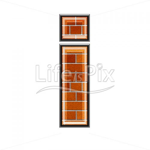 Brick letter isolated on white background – small i – Royalty free stock photos, illustrations and 3d letters fonts
