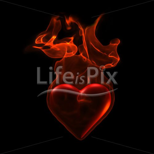 Burning heart - Royalty free stock photos, illustrations and 3d letters fonts