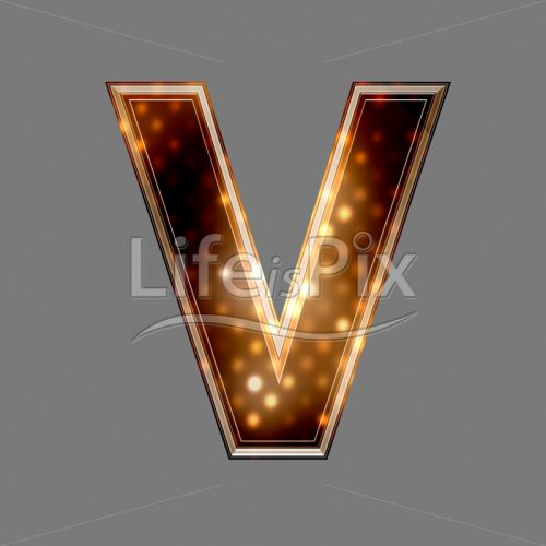 Christmas letter V with glowing light texture – Royalty free stock photos, illustrations and 3d letters fonts
