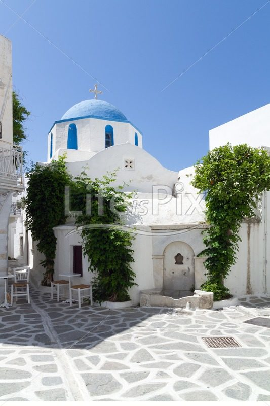 Classical greek small street - Royalty free stock photos, illustrations and 3d letters fonts