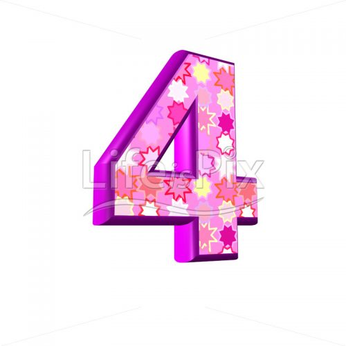 Digit 4 with pink stars texture – 3d illustration – Royalty free stock photos, illustrations and 3d letters fonts