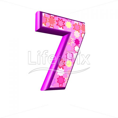 Digit 7 with pink stars texture – 3d illustration – Royalty free stock photos, illustrations and 3d letters fonts