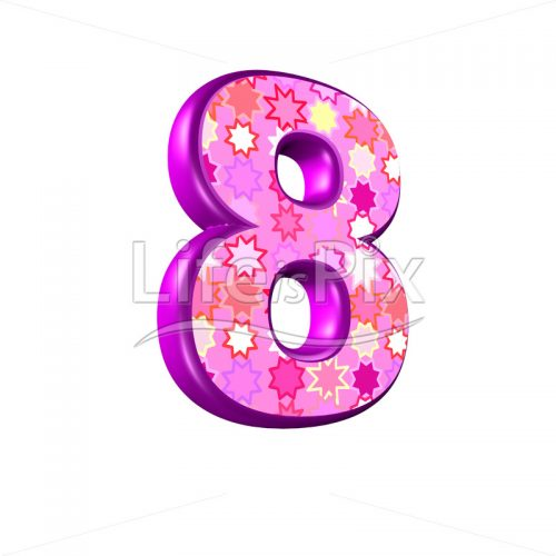 Digit 8 with pink stars texture – 3d illustration – Royalty free stock photos, illustrations and 3d letters fonts