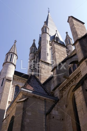 Dijon city – Notre Dame church - Royalty free stock photos, illustrations and 3d letters fonts