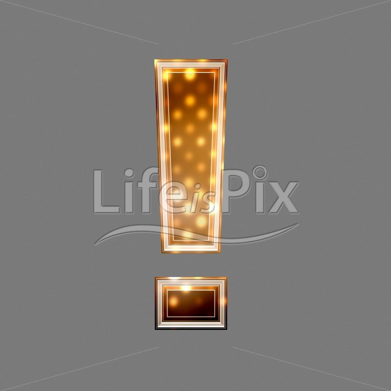 Exclamation point sign with glowing light – christmas texture - Royalty free stock photos, illustrations and 3d letters fonts