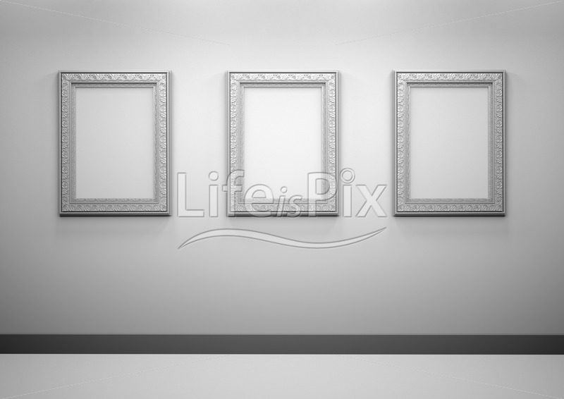 b6ff8cfac1a Gallery Interior with blank frames on wall - Royalty free stock photos