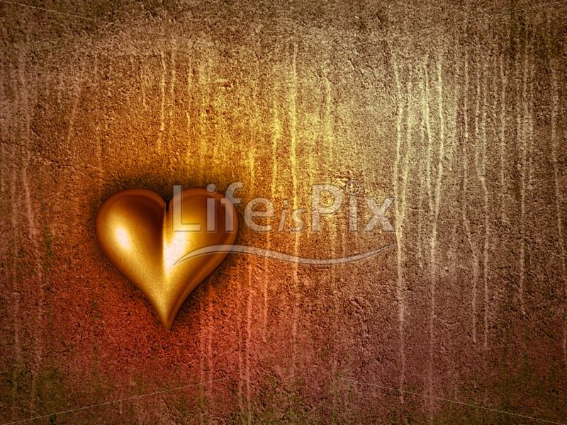 Golden Valentine heart - Royalty free stock photos, illustrations and 3d letters fonts