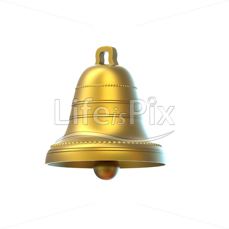 Golden bell on white background - Royalty free stock photos, illustrations and 3d letters fonts