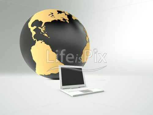 Laptop computer and globe on grey background - Royalty free stock photos, illustrations and 3d letters fonts