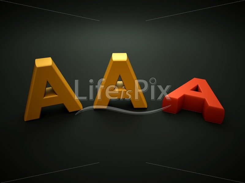 Losing AAA notation – 3d render - Royalty free stock photos, illustrations and 3d letters fonts