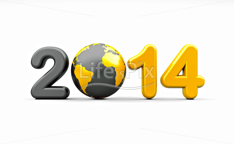 New year 2014 - Royalty free stock photos, illustrations and 3d letters fonts