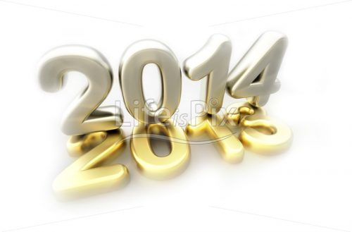 New year 2014 3d logo - Royalty free stock photos, illustrations and 3d letters fonts