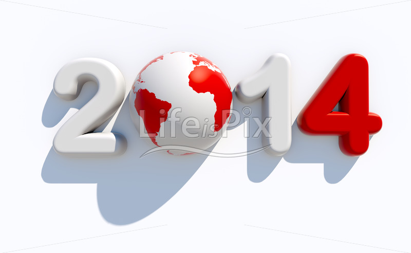 New year 2014 3d logo against white background - Royalty free stock photos, illustrations and 3d letters fonts