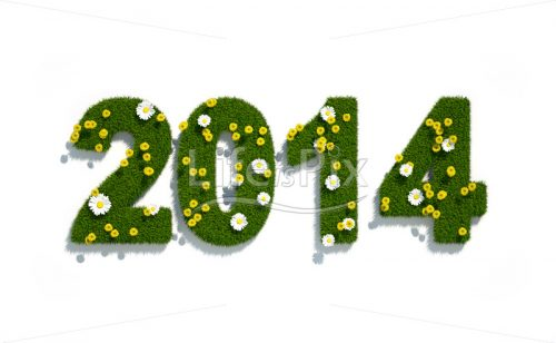 New year 2014 3d logo with flowers and grass - Royalty free stock photos, illustrations and 3d letters fonts