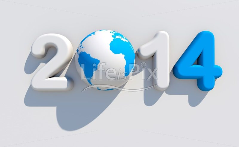 New year 2014 blue and white logo - Royalty free stock photos, illustrations and 3d letters fonts