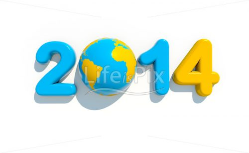 New year 2014 logo on white background - Royalty free stock photos, illustrations and 3d letters fonts