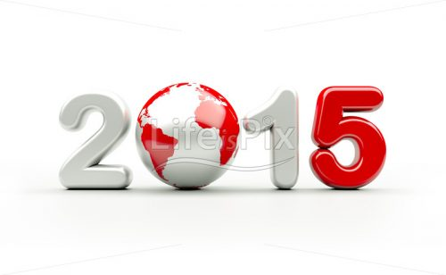 New year 2015 logo in white and red colors | 3d illustration - Royalty free stock photos, illustrations and 3d letters fonts