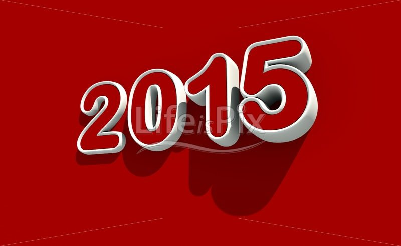 New year 2015 logo on red background – Royalty free stock photos, illustrations and 3d letters fonts