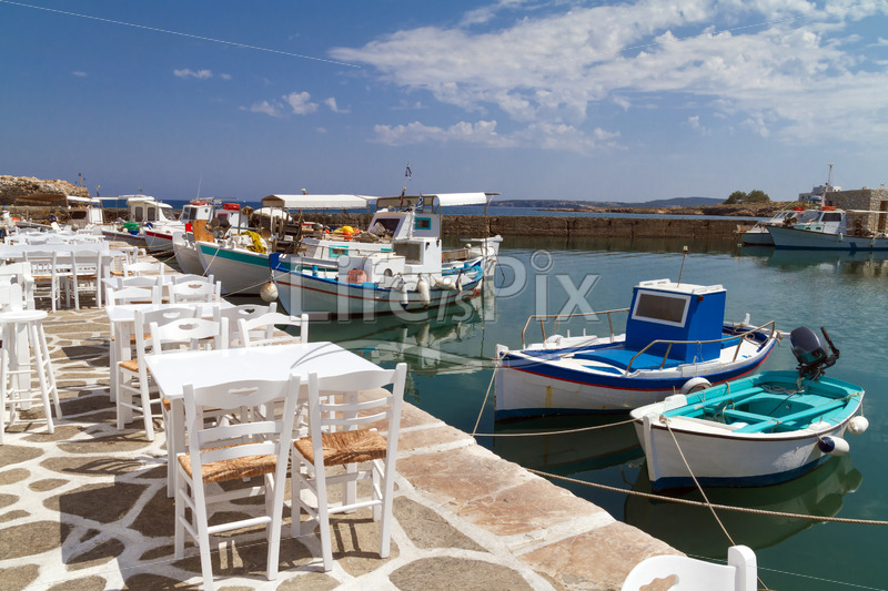 Port of Naoussa on Paros island , Greece - Royalty free stock photos, illustrations and 3d letters fonts