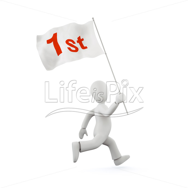 Running character with flag - Royalty free stock photos, illustrations and 3d letters fonts