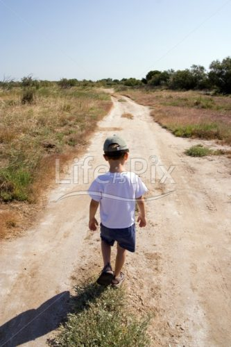 Sad child on the road – Depression, sadness or childhood concept - Royalty free stock photos, illustrations and 3d letters fonts