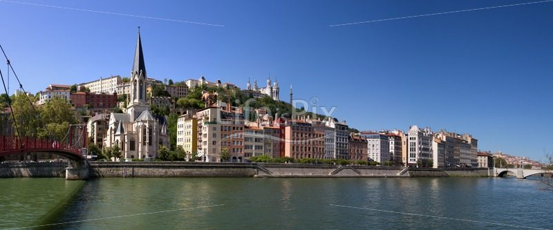 Saint georges church in lyon city, next to the Saone river - Royalty free stock photos, illustrations and 3d letters fonts